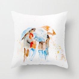 Rain People Throw Pillow