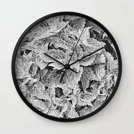 coleus black and white Wall Clock
