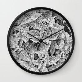 coleus black and white Wall Clock