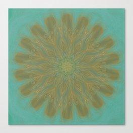 olive green mandala center swirl Canvas Print
