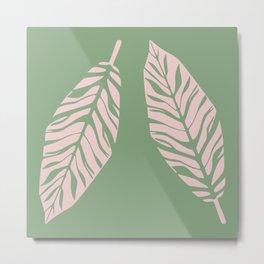 Tropical foliage Green Pink #tropical #leaves #homedecor Metal Print