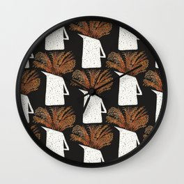 Autumn Still Life with Pampas Grass Wall Clock