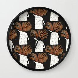 Autumn Still Life with Pampas Grass Wall Clock