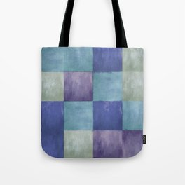 Blue Grey Tone Tiles Tote Bag