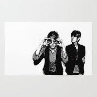 tegan and sara Area & Throw Rugs featuring Tegan & Tegan & Sara & Sara - Black by c.beanan