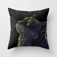 Cat and the light  Throw Pillow