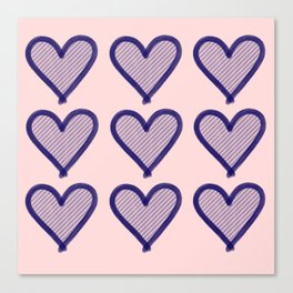 Navy Heart Pattern on Soft Pink Canvas Print