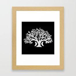 The Zen Tree - White on Black Framed Art Print