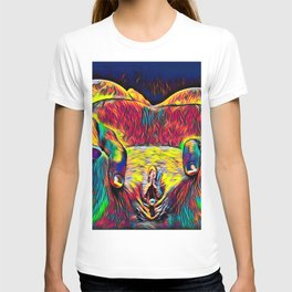 881-HW Abstract Pop Color Erotica Explicit Psychedelic Yoni Pearl in Pussy T-shirt