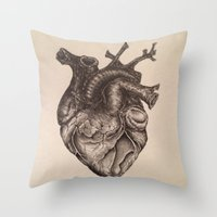 anatomical heart Throw Pillows featuring Anatomical Heart by Redmonks