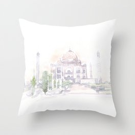 Watercolor landscape illustration_India - Taj Mahal Throw Pillow
