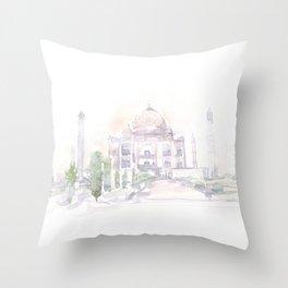 Watercolor landscape illustration_India - Taj Mahal Throw Pillow