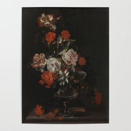 Jacob Campo Weyerman - Bouquet of flowers with roses, passion flower and bindweed - 1700-1720 Poster