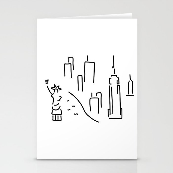 new York the Statue of Liberty skyscraper Stationery Cards