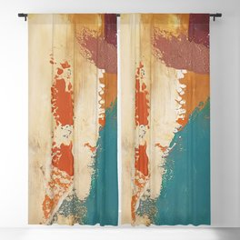 Rustic Orange Teal Abstract Blackout Curtain