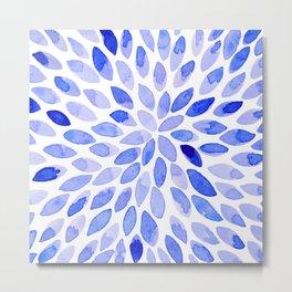 Watercolor brush strokes - blue Metal Print