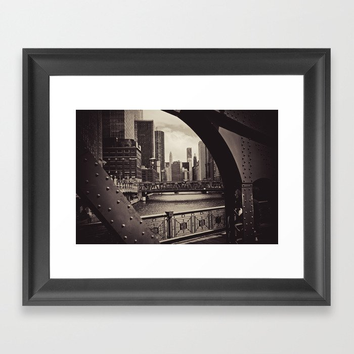 Up The Chicago River Framed Art Print