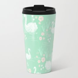 Swans painting cute girly trend cell phone case with swans pattern florals hand painted mint Travel Mug