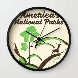 Visit America's National Parks vintage poster Wall Clock