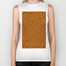 Autumnal Leaves Red Green and Amber Abstract Kaleidoscope Biker Tank