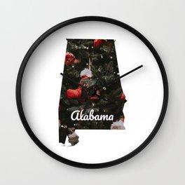 Alabama Christmas Print - Xmas Print Map - Christmas Decor Print Wall Clock