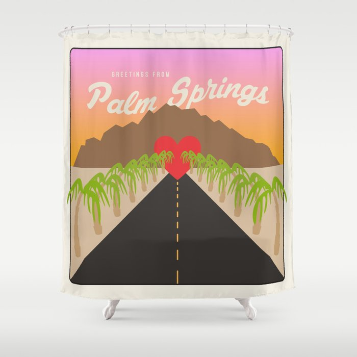 Greetings From Palm Springs Shower Curtain By Wesleybird