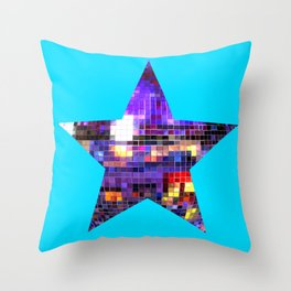 Mirrored Purple Disco Ball Star Throw Pillow