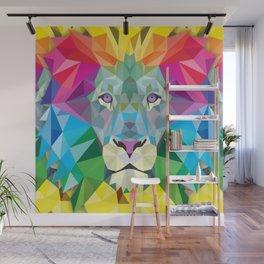 Geometric Rainbow Lion Wall Mural