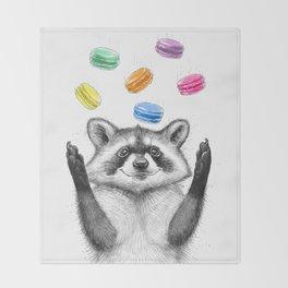 raccoon with cookies Throw Blanket