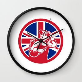 British Lit Operator Union Jack Flag Icon Wall Clock