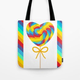 Valentine's Day Heart shaped candy lollipops with bow, colorful spiral candy cane with rainbow Tote Bag