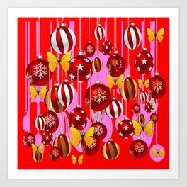 DECORATIVE RED CHRISTMAS ORNAMENT & YELLOW BUTTERFLIES Art Print
