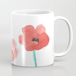 Three Poppies \\ Watercolor Flowers Coffee Mug