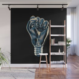 Protest fist light bulb / 3D render of glass light bulb in the form of clenched fist Wall Mural