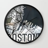 boston Wall Clocks featuring Boston by Sophie Calhoun