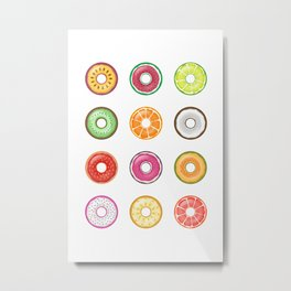 Colorful Fruit Donuts Collection Art, Sweet Fruity Donut Set, Delicious Large Printable Photography Metal Print