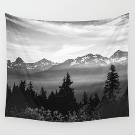Morning in the Mountains Black and White Wall Tapestry