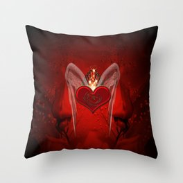 Wonderful heart with wings and dragon Throw Pillow