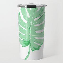 Green Monstera Leaf Travel Mug