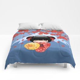 Japanese Red Sakura Kokeshi Doll on Blue Comforters