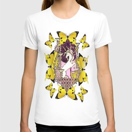 Golden Butterflies  Purple Unicorn Fantasy World Design  T-shirt