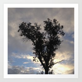 Glowing cloud heart tree Art Print