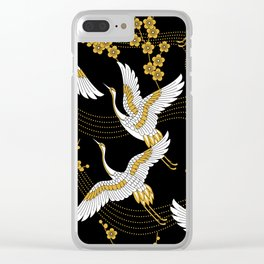 flower bird traditional patterns in japanese design - yellow on black background Clear iPhone Case