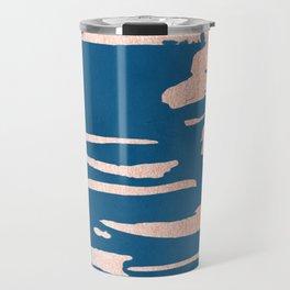 Tiger Paint Stripes - Sweet Peach Shimmer on Saltwater Taffy Teal Travel Mug