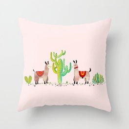 Cute alpacas with pink background Throw Pillow