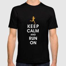 Keep Calm and Run On (female runner) MEDIUM Mens Fitted Tee Black