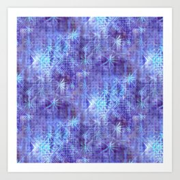 Blue and Lavender Leaves and Geometry Art Print