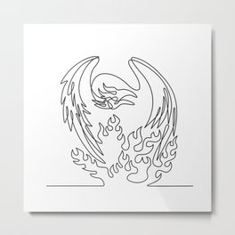 Phoenix Mythological Bird Regenerates on Fire Front View Continuous Line Drawing Black and White Metal Print