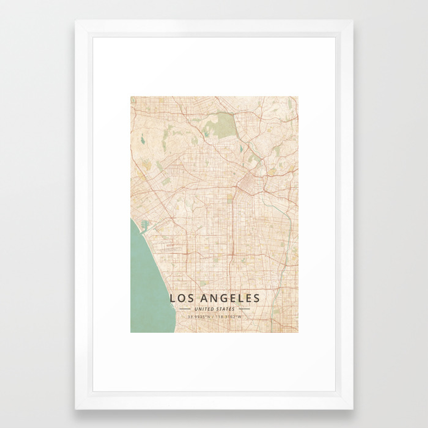Los Angeles, United States - Vintage Map Framed Art Print by ... on