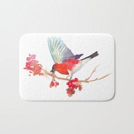 Bullfinch bird with ashberry Bath Mat